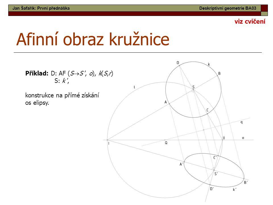 Afinní obraz kružnice viz cvičení Příklad: D: AF (SS ', o), k(S,r)
