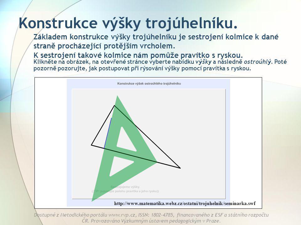 Konstrukce výšky trojúhelníku.