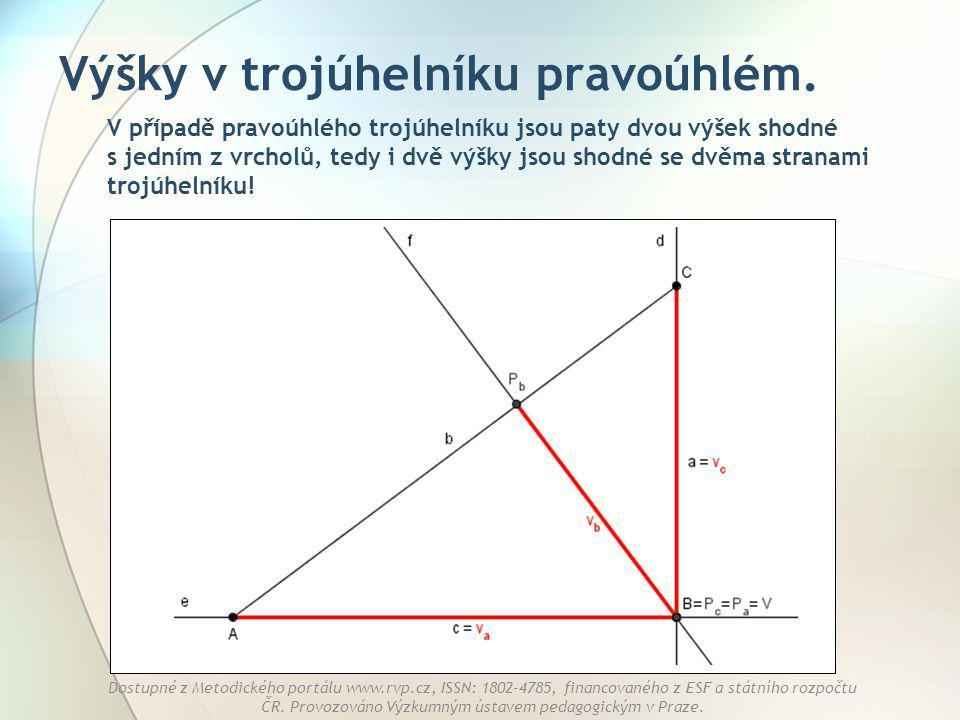 Výšky v trojúhelníku pravoúhlém.
