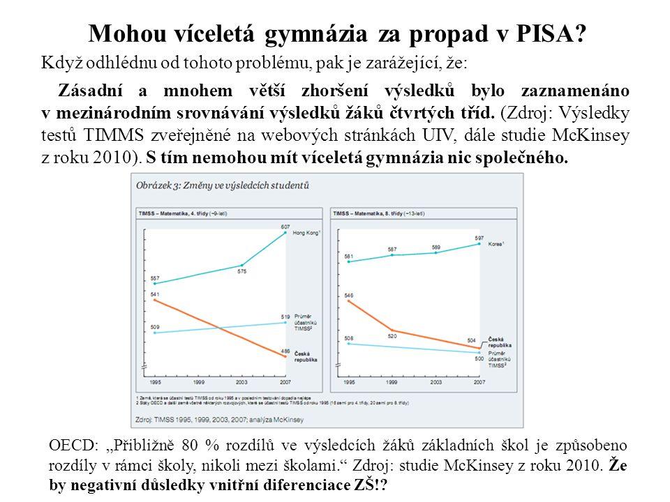 Mohou víceletá gymnázia za propad v PISA