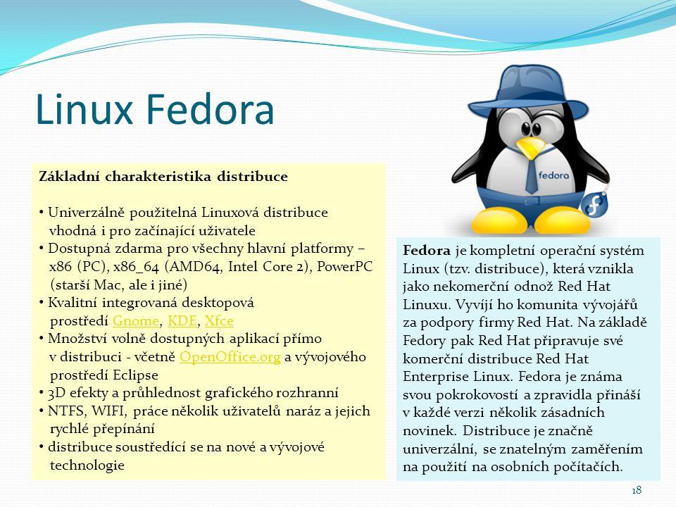 Linux Fedora Základní charakteristika distribuce