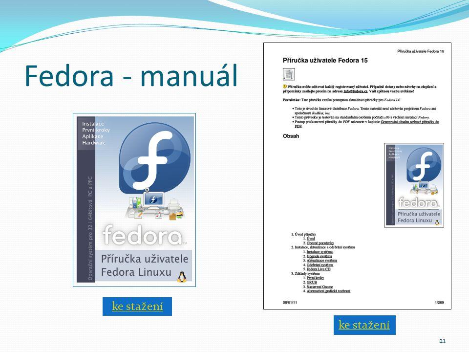 Fedora - manuál ke stažení ke stažení