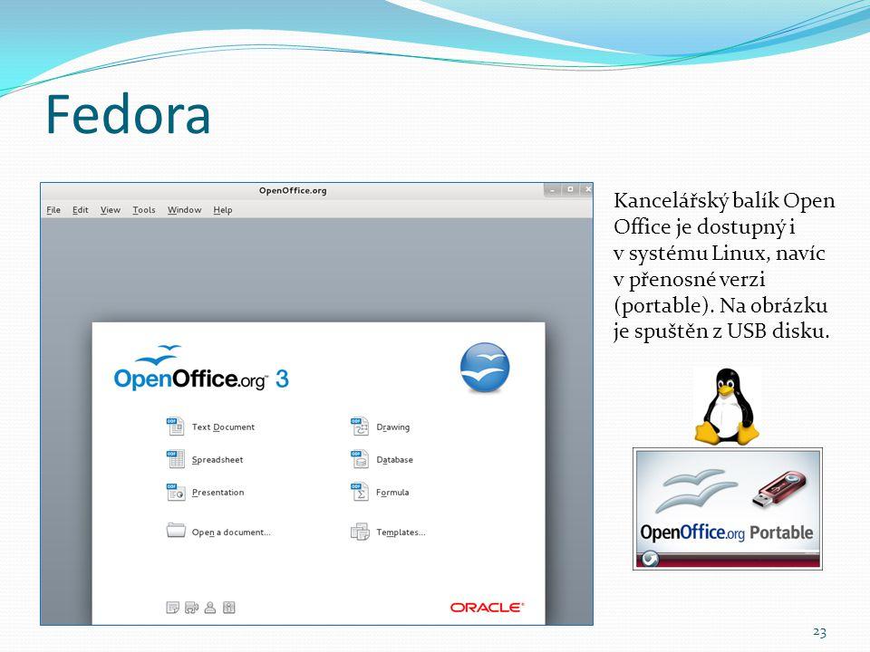 Fedora Kancelářský balík Open Office je dostupný i