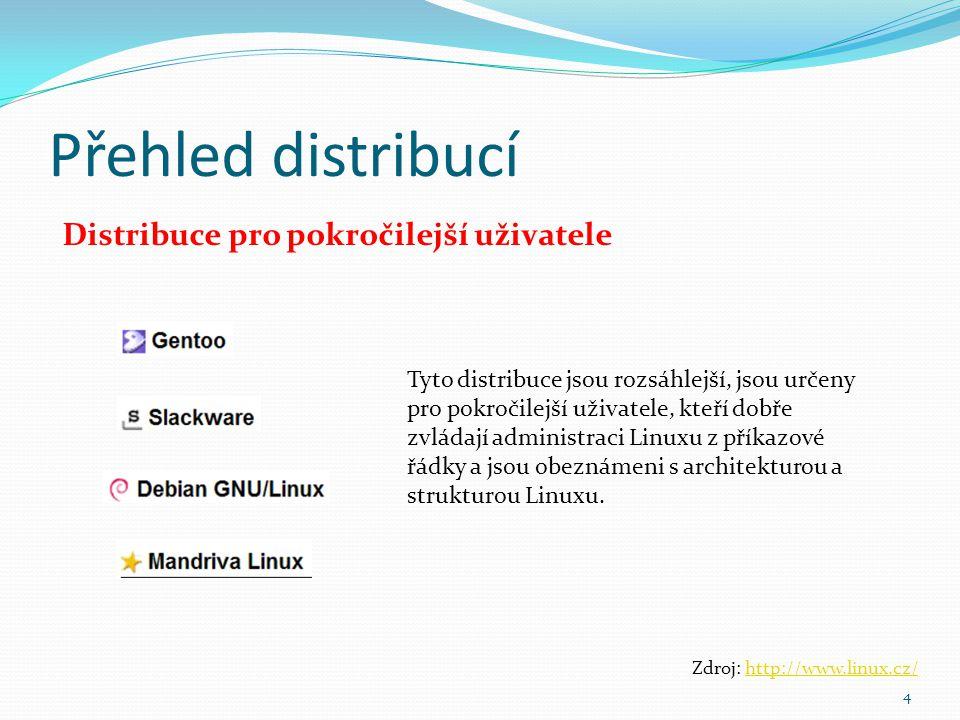 Přehled distribucí Distribuce pro pokročilejší uživatele