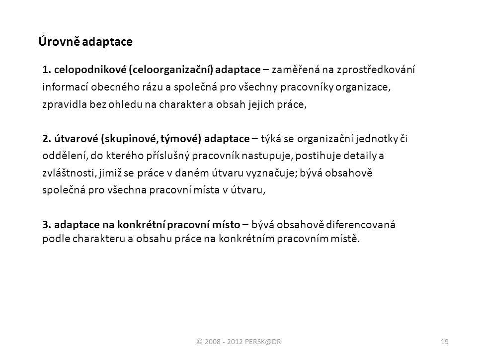 Úrovně adaptace 1. celopodnikové (celoorganizační) adaptace – zaměřená na zprostředkování.