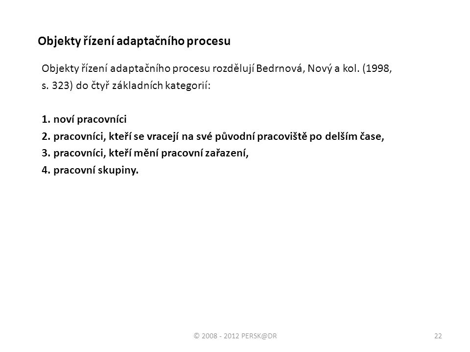 Objekty řízení adaptačního procesu