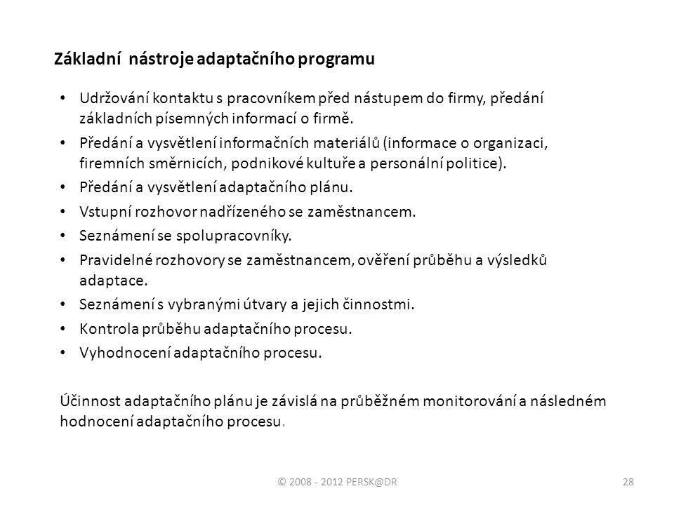 Základní nástroje adaptačního programu