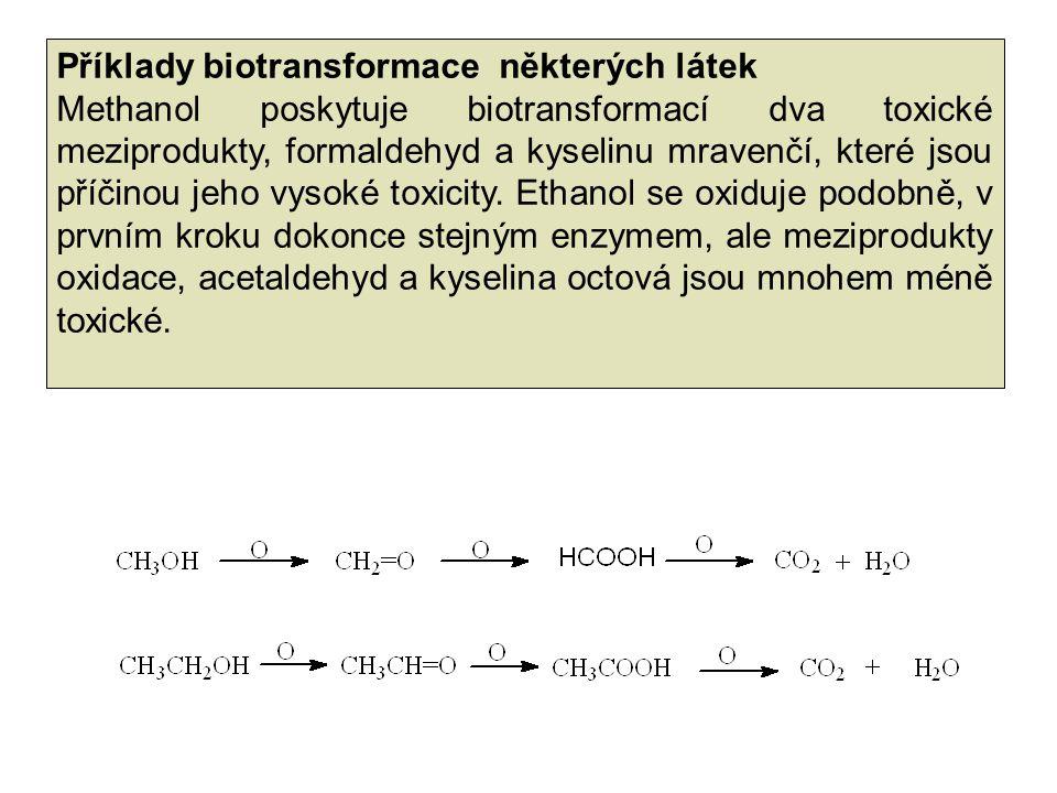 Příklady biotransformace některých látek