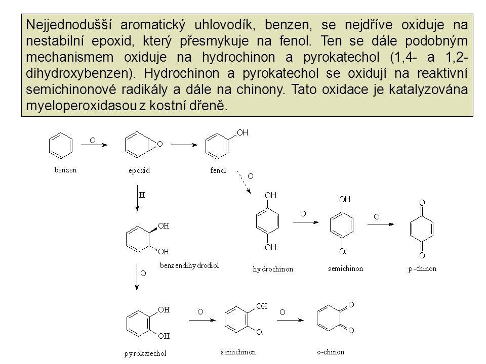 Nejjednodušší aromatický uhlovodík, benzen, se nejdříve oxiduje na nestabilní epoxid, který přesmykuje na fenol.