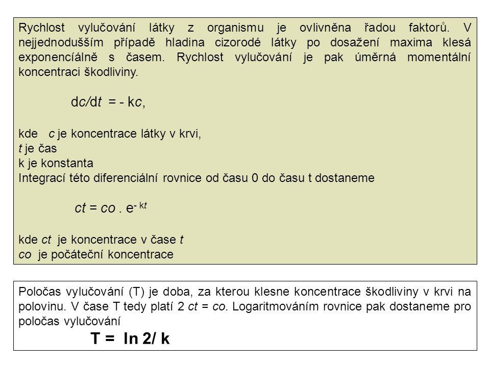 T = ln 2/ k dc/dt = - kc, ct = co . e- kt