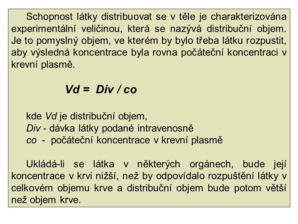 Schopnost látky distribuovat se v těle je charakterizována experimentální veličinou, která se nazývá distribuční objem. Je to pomyslný objem, ve kterém by bylo třeba látku rozpustit, aby výsledná koncentrace byla rovna počáteční koncentraci v krevní plasmě.