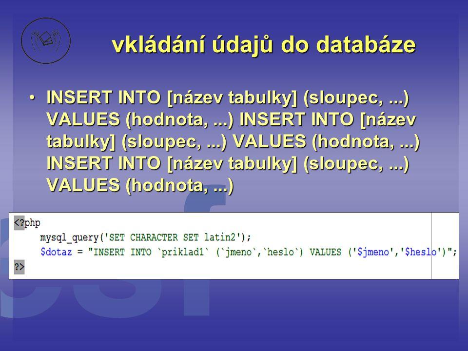vkládání údajů do databáze