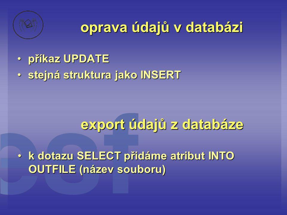 oprava údajů v databázi