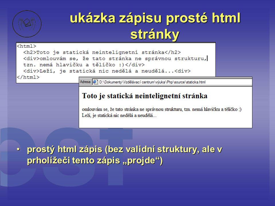 ukázka zápisu prosté html stránky