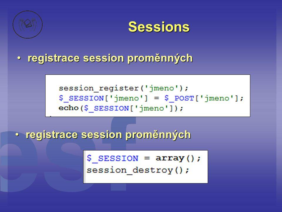 Sessions registrace session proměnných registrace session proměnných