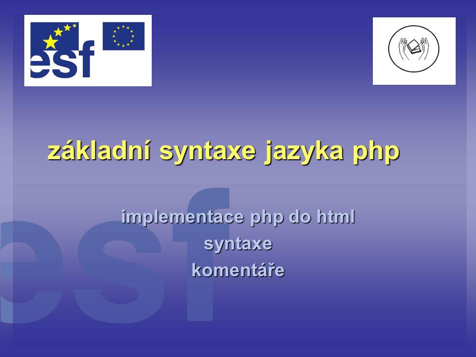 základní syntaxe jazyka php
