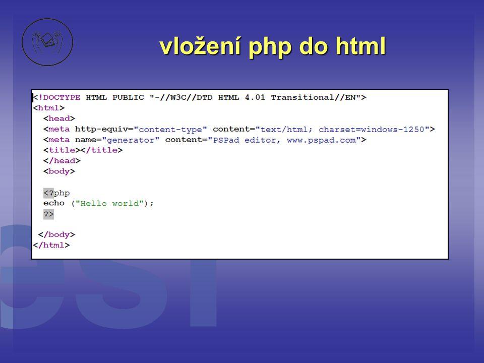 vložení php do html