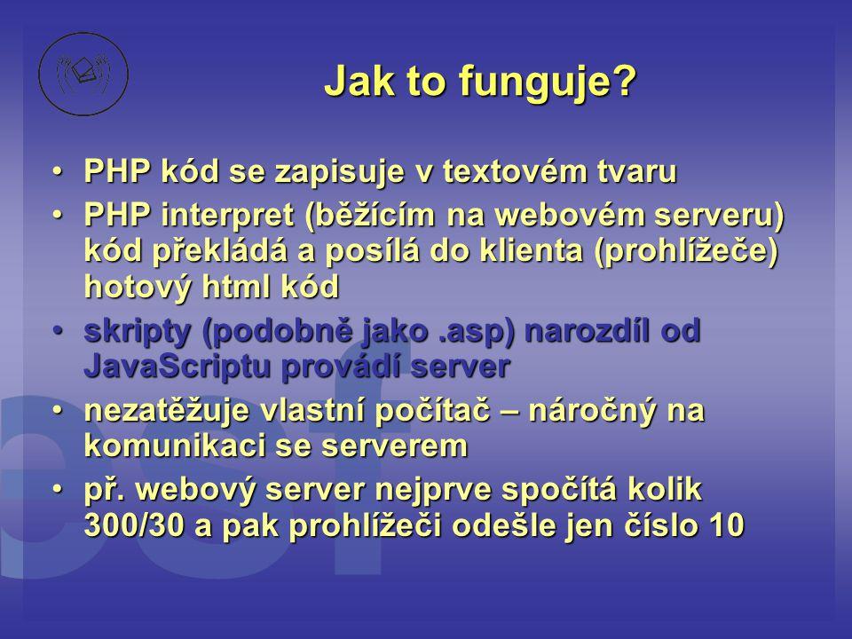 Jak to funguje PHP kód se zapisuje v textovém tvaru