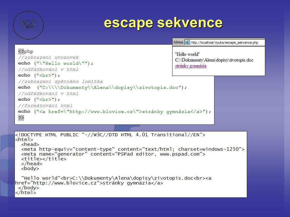 escape sekvence