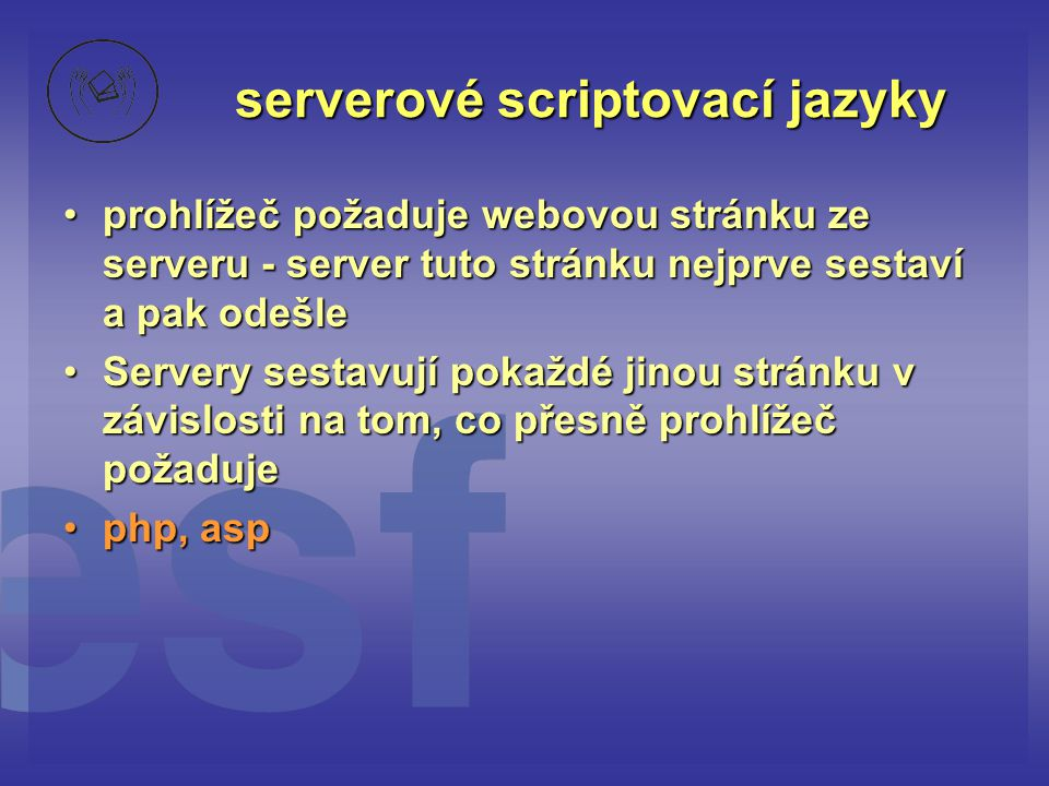 serverové scriptovací jazyky
