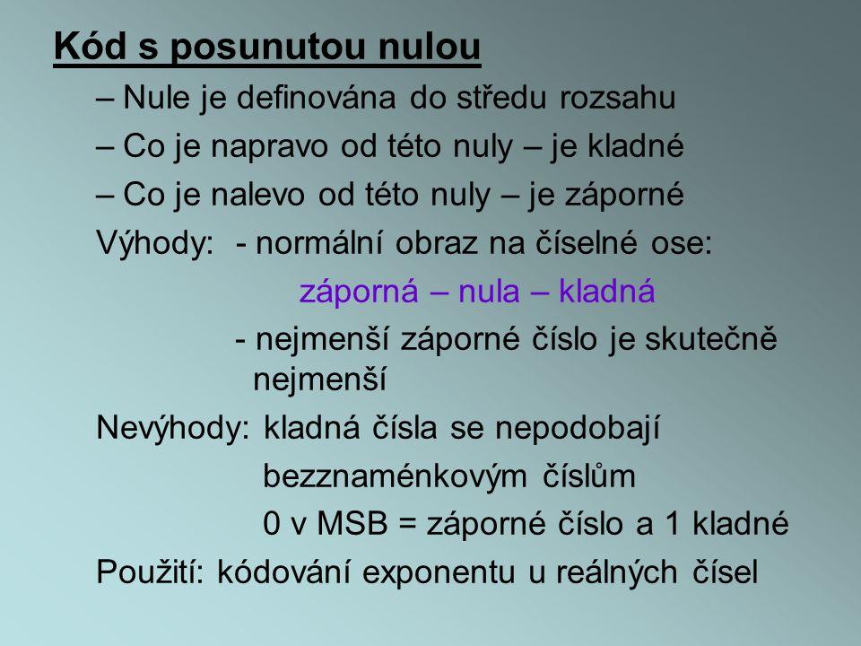 Kód s posunutou nulou Nule je definována do středu rozsahu