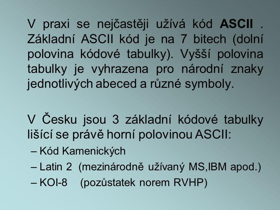 V praxi se nejčastěji užívá kód ASCII