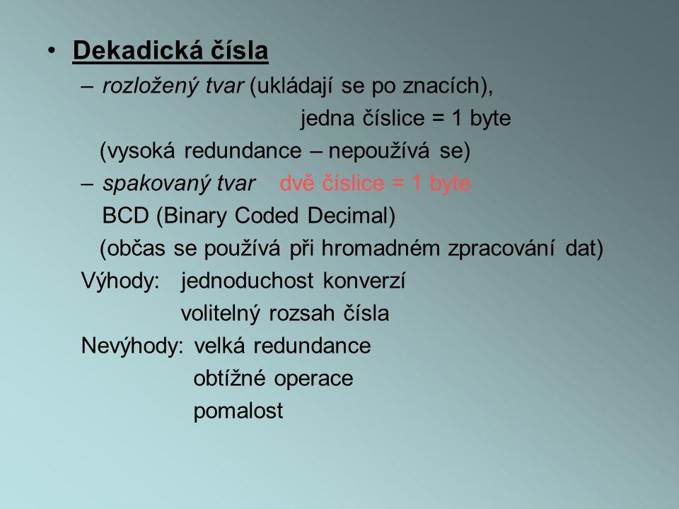Dekadická čísla rozložený tvar (ukládají se po znacích),