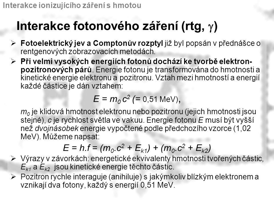 Interakce fotonového záření (rtg, g)