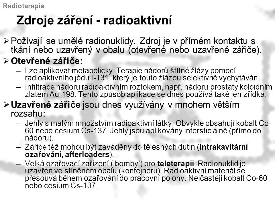 Zdroje záření - radioaktivní