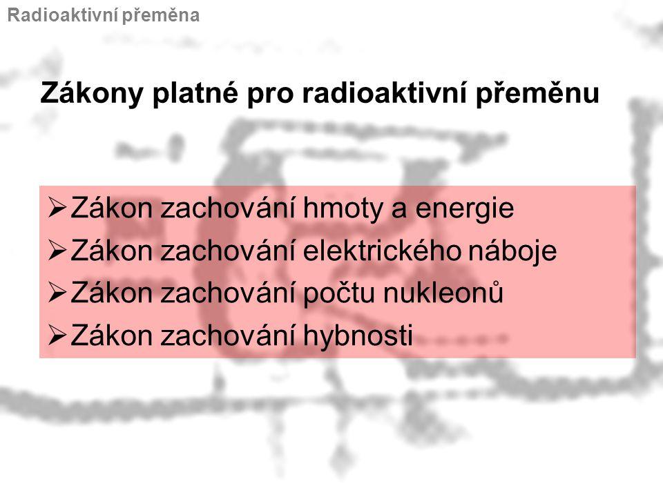 Zákony platné pro radioaktivní přeměnu
