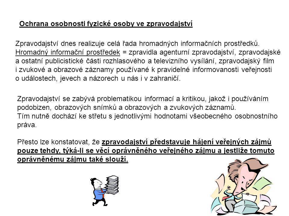 Ochrana osobnosti fyzické osoby ve zpravodajství
