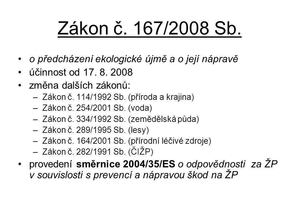 Zákon č. 167/2008 Sb. o předcházení ekologické újmě a o její nápravě