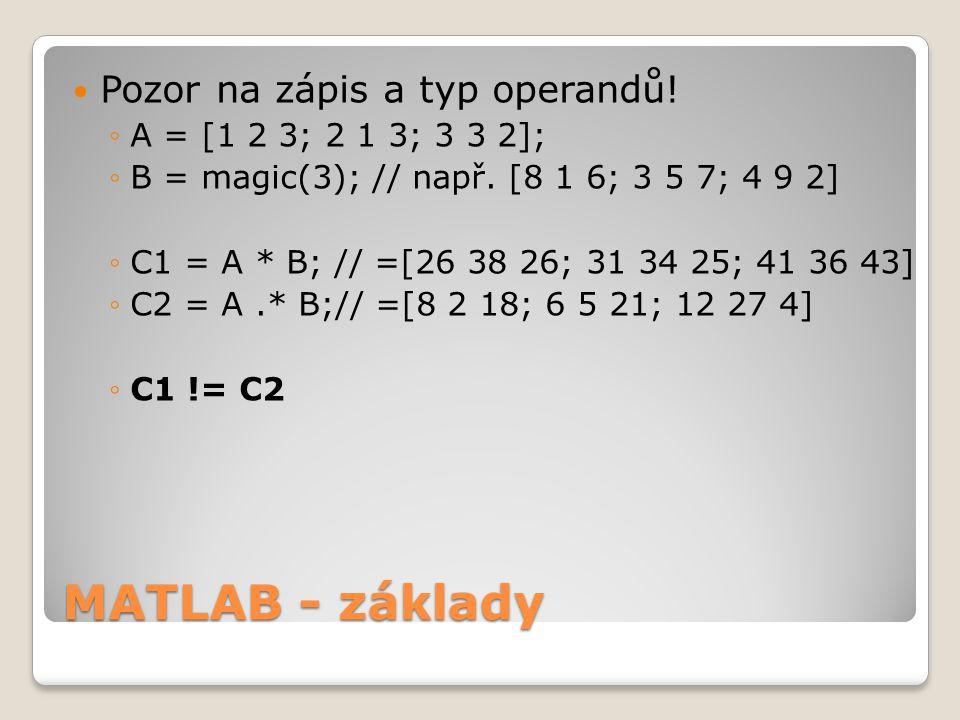 MATLAB - základy Pozor na zápis a typ operandů!