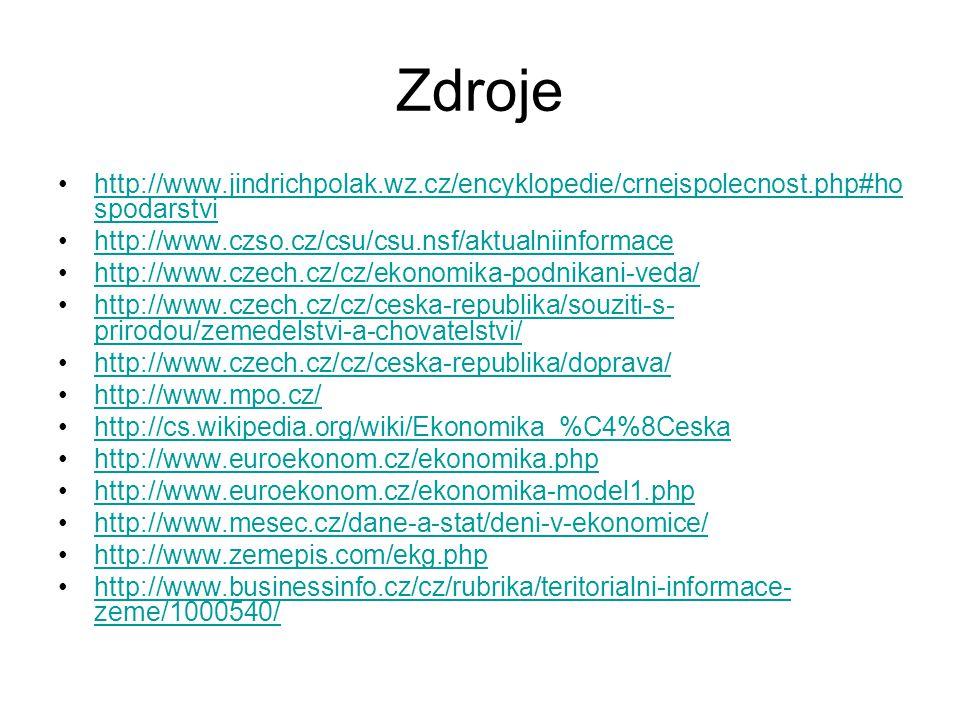 Zdroje http://www.jindrichpolak.wz.cz/encyklopedie/crnejspolecnost.php#hospodarstvi. http://www.czso.cz/csu/csu.nsf/aktualniinformace.