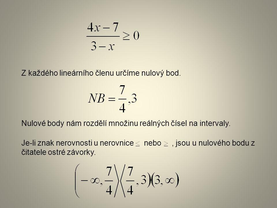 Z každého lineárního členu určíme nulový bod.