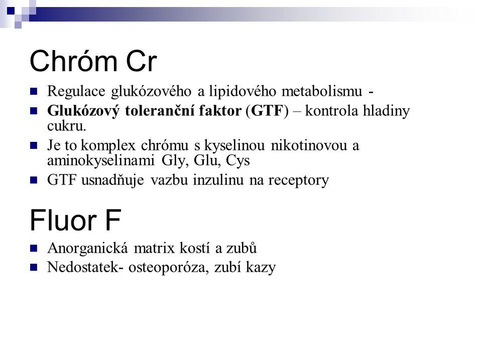 Chróm Cr Fluor F Regulace glukózového a lipidového metabolismu -