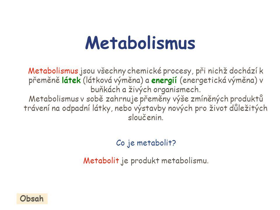 Metabolit je produkt metabolismu.
