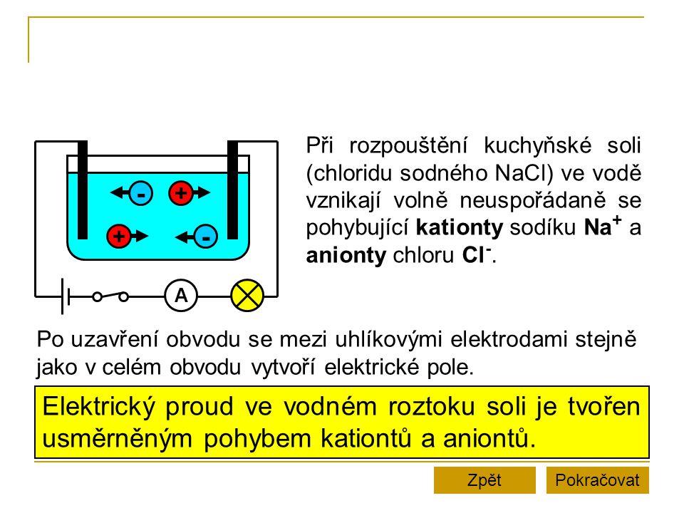 Při rozpouštění kuchyňské soli (chloridu sodného NaCl) ve vodě vznikají volně neuspořádaně se pohybující kationty sodíku Na+ a anionty chloru Cl-.