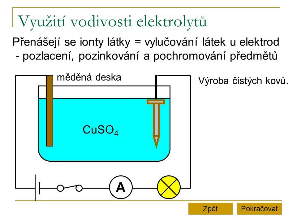 Využití vodivosti elektrolytů