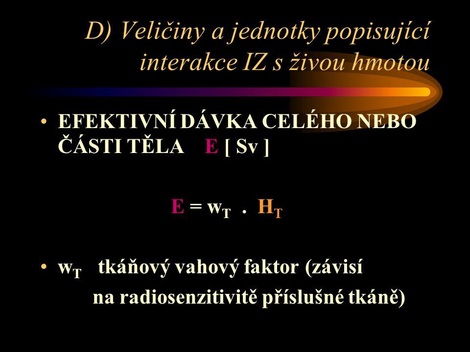 D) Veličiny a jednotky popisující interakce IZ s živou hmotou