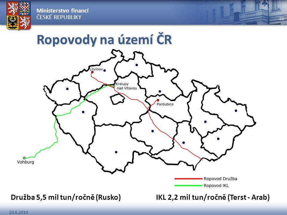 Ropovody na území ČR Družba 5,5 mil tun/ročně (Rusko) IKL 2,2 mil tun/ročně (Terst - Arab)