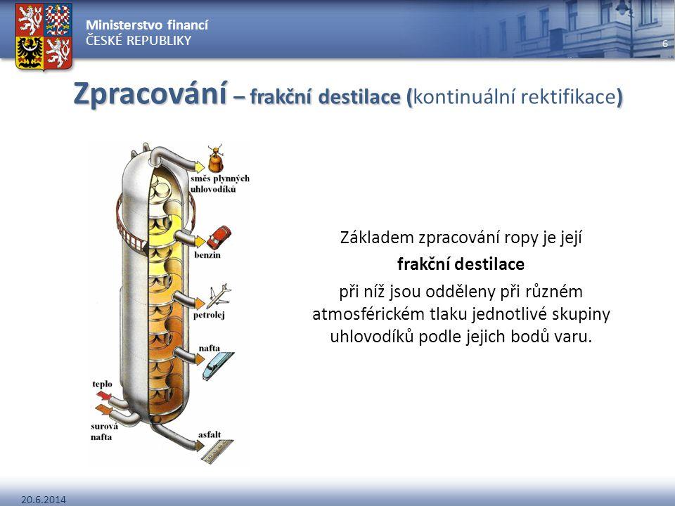 Zpracování – frakční destilace (kontinuální rektifikace)