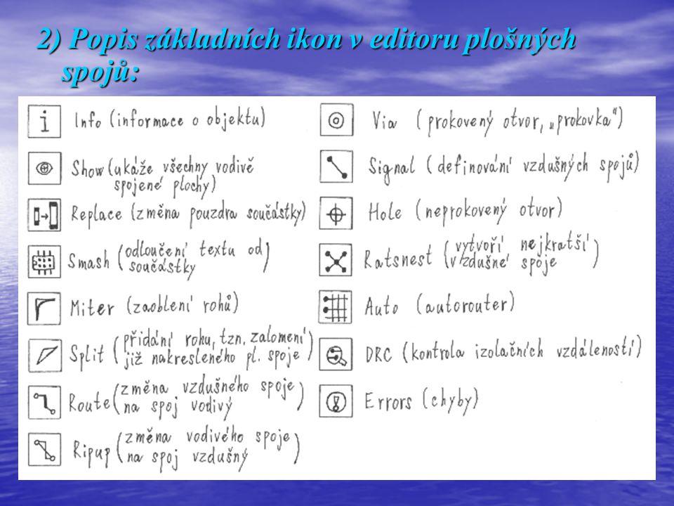 2) Popis základních ikon v editoru plošných spojů: