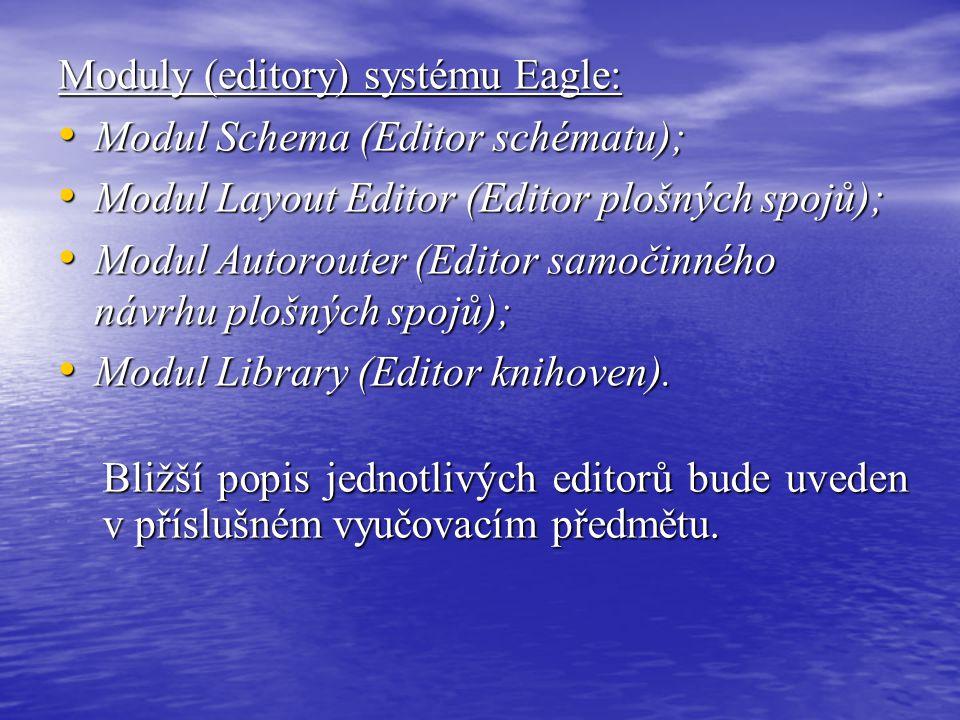 Moduly (editory) systému Eagle: