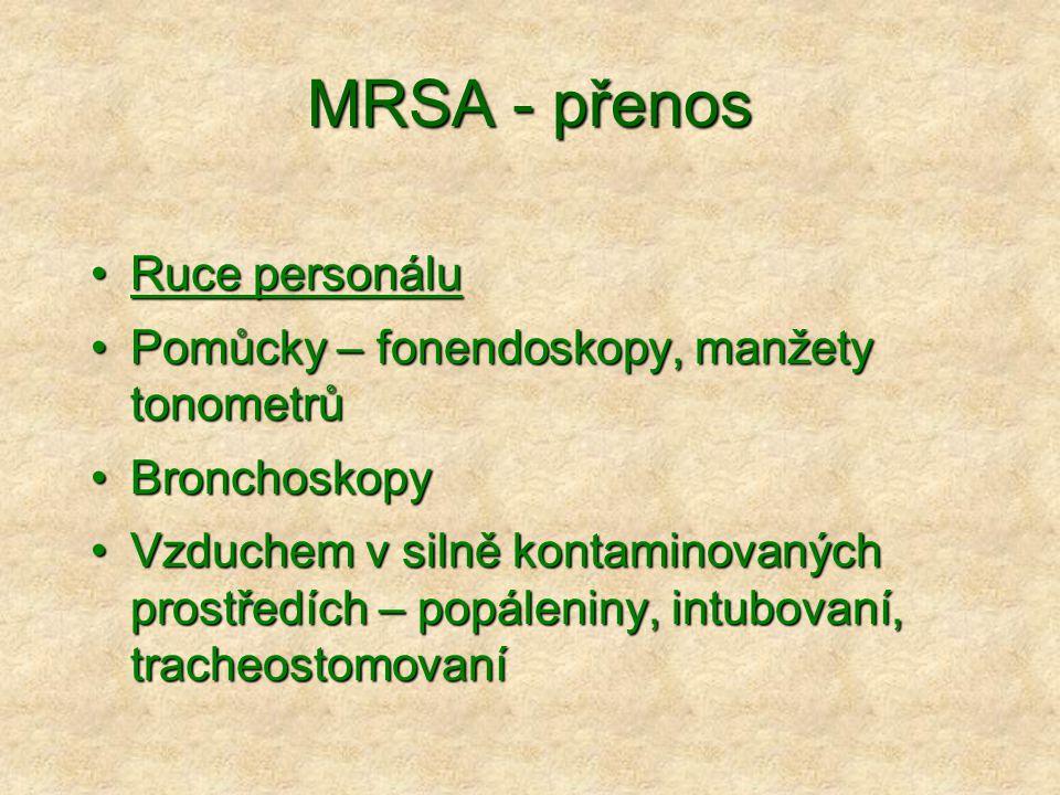 MRSA - přenos Ruce personálu Pomůcky – fonendoskopy, manžety tonometrů