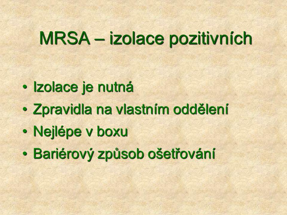 MRSA – izolace pozitivních