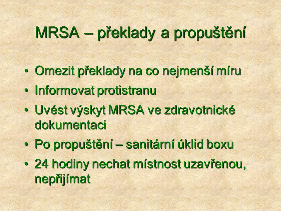 MRSA – překlady a propuštění