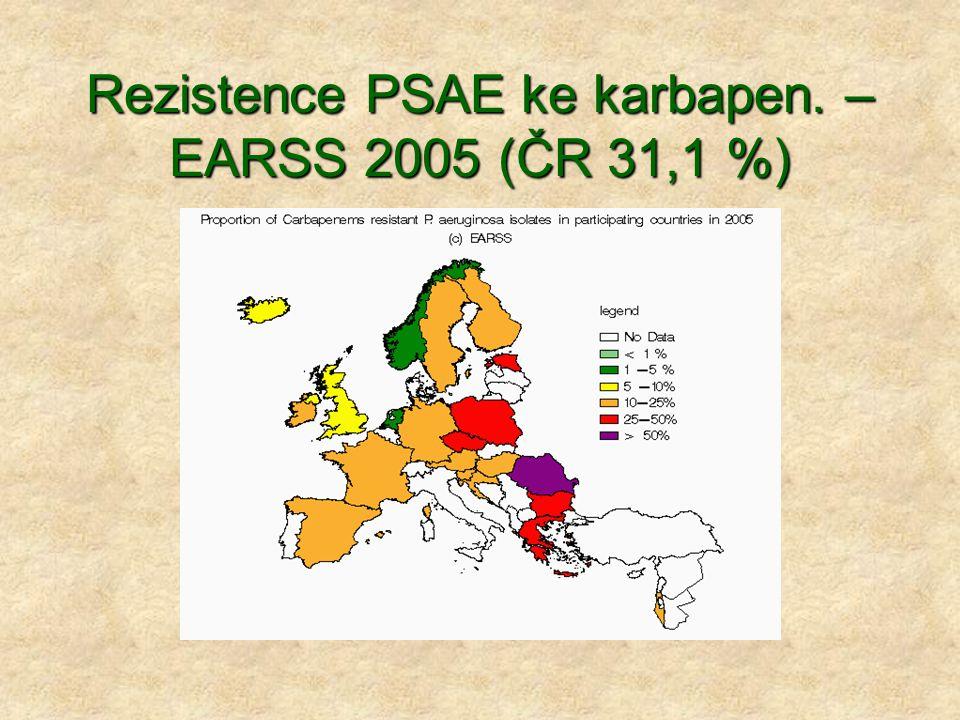 Rezistence PSAE ke karbapen. – EARSS 2005 (ČR 31,1 %)