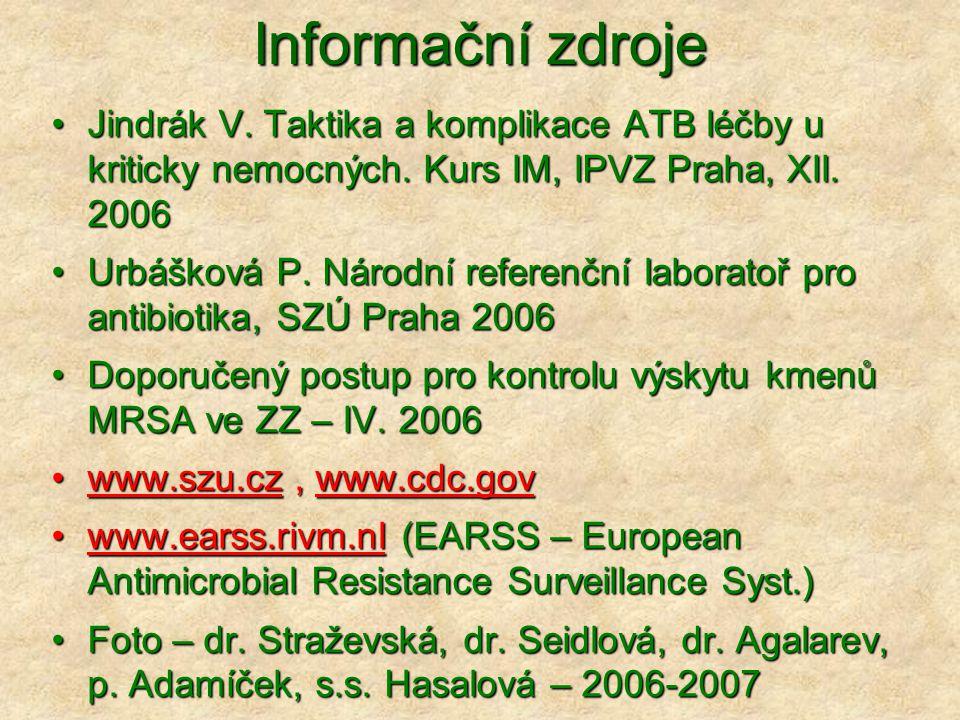 Informační zdroje Jindrák V. Taktika a komplikace ATB léčby u kriticky nemocných. Kurs IM, IPVZ Praha, XII. 2006.