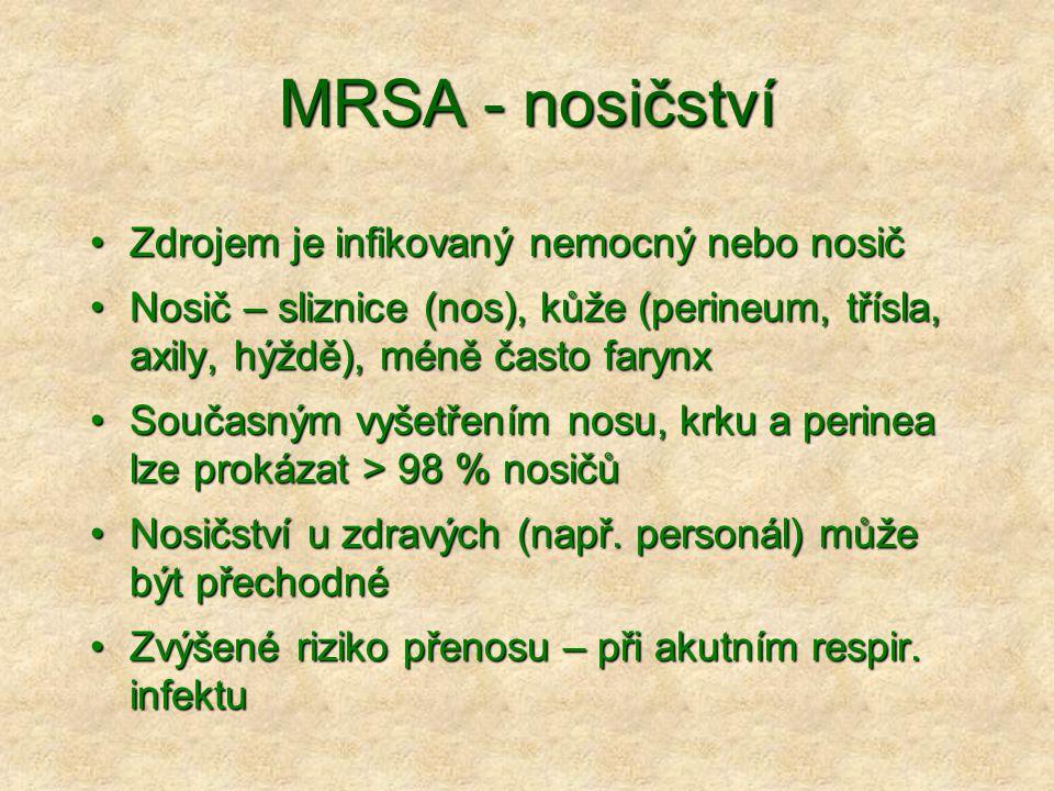 MRSA - nosičství Zdrojem je infikovaný nemocný nebo nosič